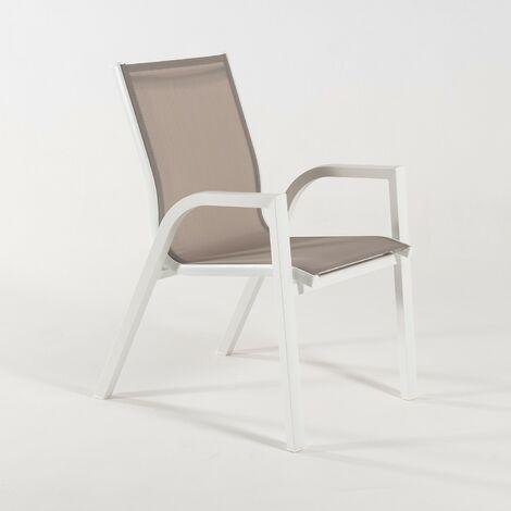 Sillón de exterior apilable | Tamaño: 56x66x90 cm | Aluminio doble reforzado color blanco | Textilene color taupé | Portes gratis