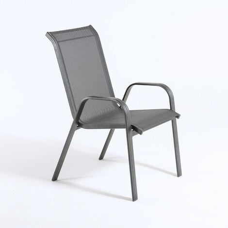 Sillón de exterior apilable | Tamaño: 57x74x96,5 cm | Aluminio reforzado color antracita | Textilene color plata y negro | Portes Gratis