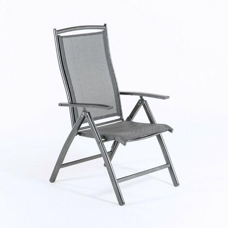 Sillón de exterior de aluminio antracita y textilene | Reclinable | Tamaño: 60x76x110 cm | Portes gratis