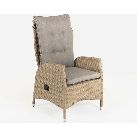 Sillón de exterior reclinable | Tamaño: 63x67x120 cm | Aluminio y rattán sintético color natural | Cojín marrón | Portes gratis - Natural-plano