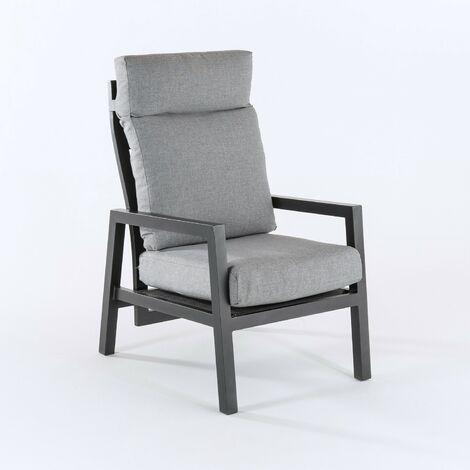 Sillón de jardín reclinable con sistema hidráulico, Aluminio reforzado color antracita, Altura sillón 104 cm, Cojines en color gris