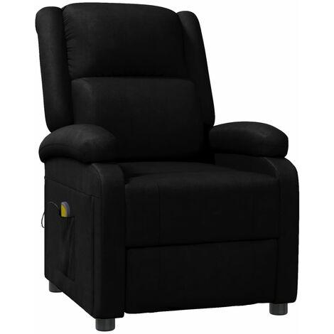 Sillón de masaje de cuero sintético negro