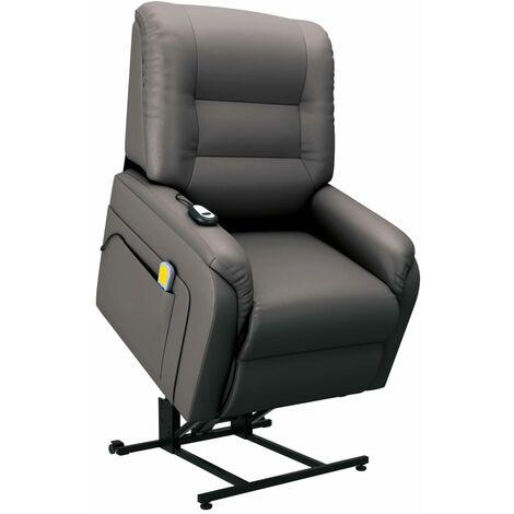Sillón de masaje reclinable para TV cuero sintético gris
