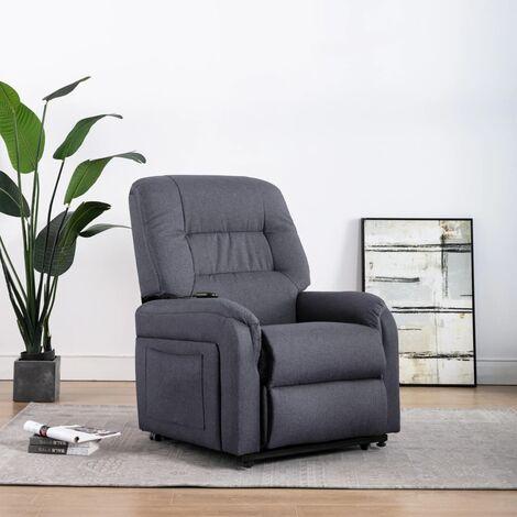 Sillón de masaje reclinable para TV cuero sintético gris oscuro