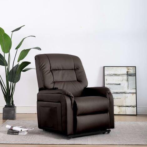 Sillón de masaje reclinable para TV cuero sintético marrón