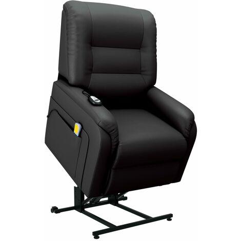 Sillón de masaje reclinable para TV cuero sintético negro