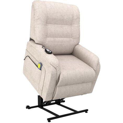 Sillón de masaje reclinable para TV e incorporación tela crema