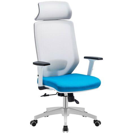 Sillón de oficina CLAYTON, blanco, malla gris, tejido azul claro