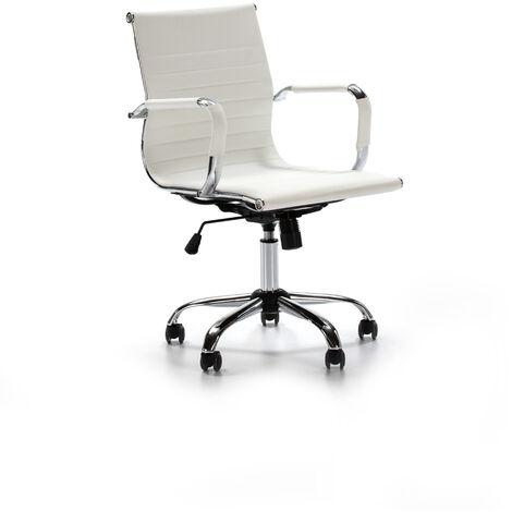 "main image of ""Sillón de Oficina GIANNA reclinable Blanco. Piel sintética. Silla ejecutiva con reposabrazos y conjín engrosados. Altura Ajustable. Diseño ergonómico"""