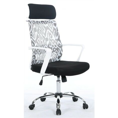 Sillón de oficina NAIRA, blanco, gas, basculante, malla decorada, tejido negro
