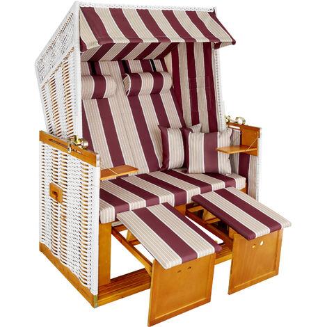 Sillón de playa con acolchado - tumbona de playa con funda, tumbona para costa estilo nórdico con cojines, silla de jardín con reposapiés extraíbles