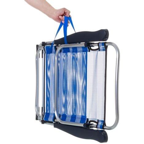 """main image of """"Sillón de playa plegable azul marino de aluminio de 61x66x110 cm"""""""