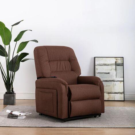 Sillón eléctrico reclinable para TV e incorporación tela marrón