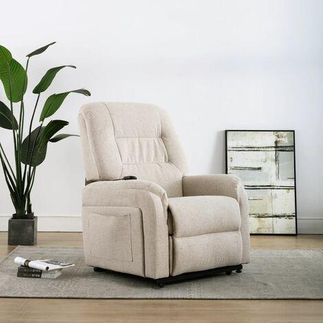 Sillón eléctrico reclinable TV e incorporación tela color crema
