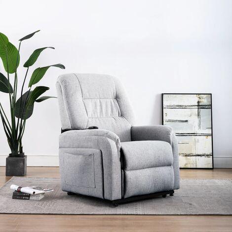Sillón eléctrico reclinable TV e incorporación tela gris claro
