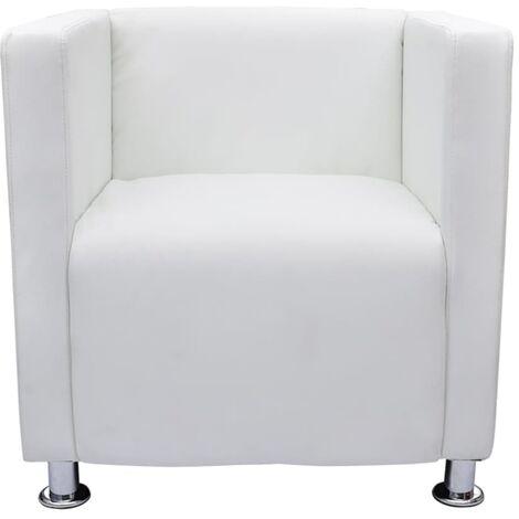 Sillón en forma de cubo de cuero sintético blanco