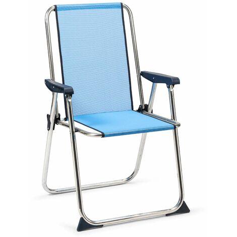 Solenny Chaise De Plage Pliante Avec Dossier Haut Bleu