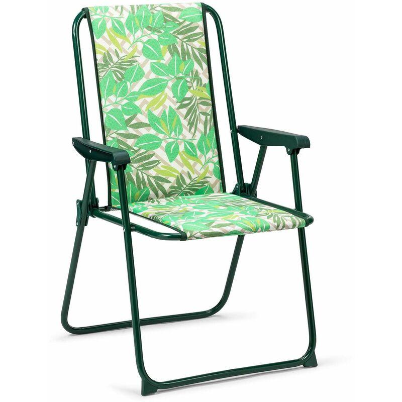 Chaise de Jardin Pliante Dossier Haut et Rembourrage - solenny
