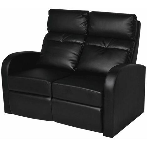 Sillón reclinable de 2 plazas de cuero artificial negro