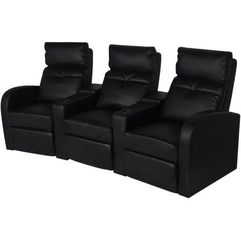 Sillón reclinable de 3 plazas de cuero artificial negro