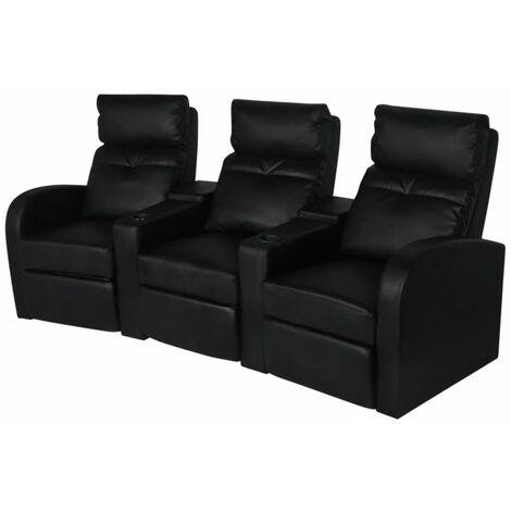 Sillon reclinable de 3 plazas de cuero artificial negro