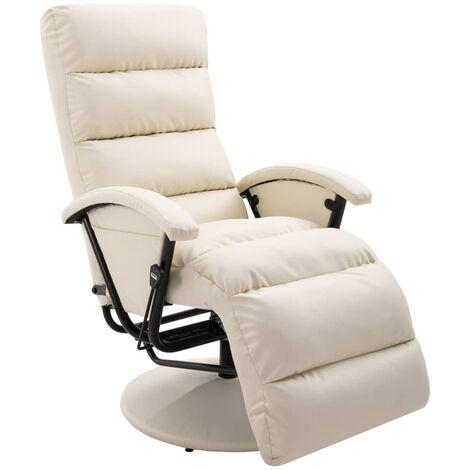 Sillón reclinable para TV de cuero sintético color crema