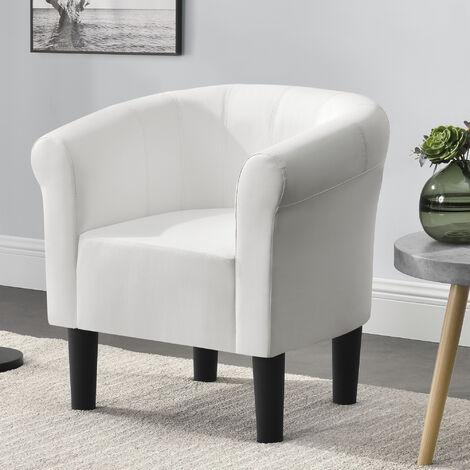 Sillón Relax Elegante - Butaca - 70x70x58 cm - Asiento cómodo - de Piel sintética - Blanco