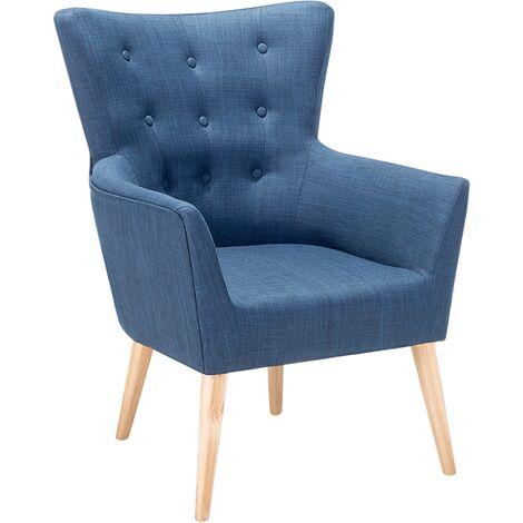Sillón tapizado azul ANGEN