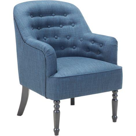 Sillón tapizado azul oscuro MANDAL