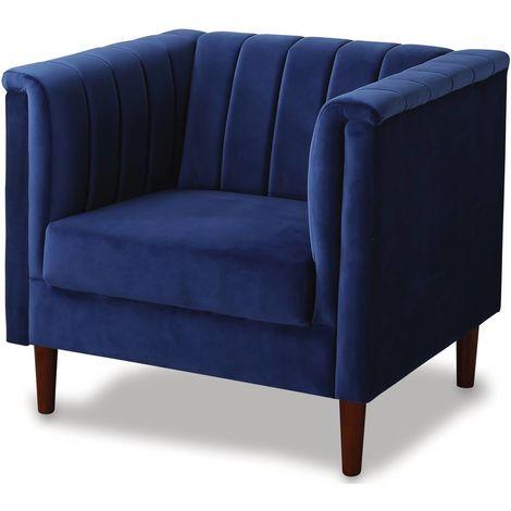 Sillón terciopelo Ellison - 1 plaza - Azul oscuro
