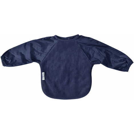 SILLY BILLYZ NAVY LARGE LONG SLEEVE FLEECE FEEDING BIB