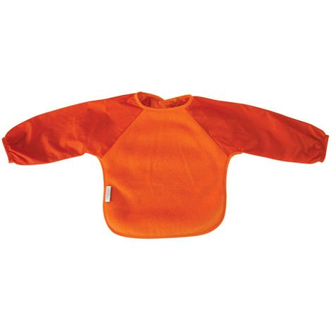 SILLY BILLYZ ORANGE SMALL LONG SLEEVE FLEECE FEEDING BIB