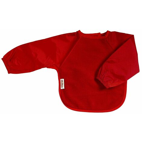 SILLY BILLYZ RED LARGE LONG SLEEVE FLEECE FEEDING BIB