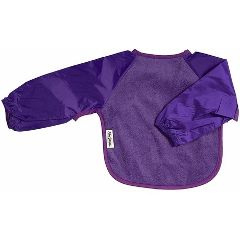 SILLY BILLYZPURPLE LARGE LONG SLEEVE FLEECE FEEDING BIB