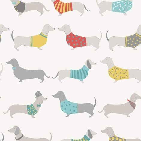 Silly Sausage Dogs Wallpaper White Red Teal Grey Yellow