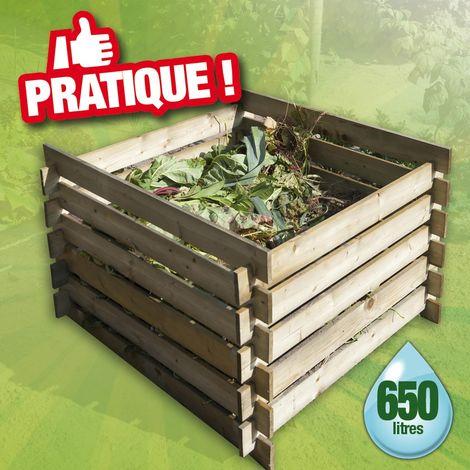 Silo à compost en bois - FSC, 650 l - H70 x 100 x 100 cm