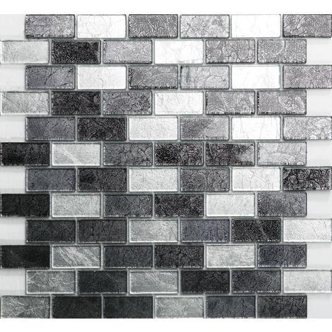 Silver and Black Mix Brick Foil Glass Mosaic Tiles MT0161