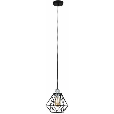 Silver Ceiling Lampholder + Black Shade - Silver