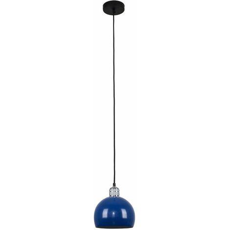 Silver Ceiling Lampholder + Blue Light Shade 10W LED Gls Bulb - Warm White