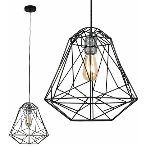 Silver Ceiling Lampholder + Geometric Black Metal Shade