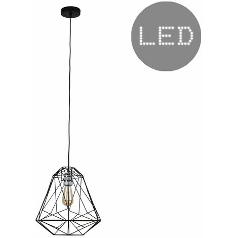 Silver Ceiling Lampholder + Geometric Black Shade 4W LED Filament Light Bulb - Warm White