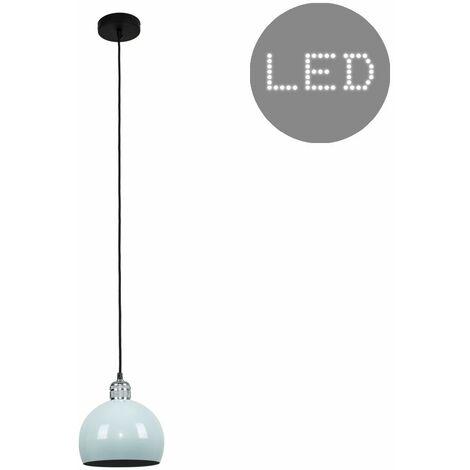 Silver Ceiling Lampholder + Pale Blue Light Shade 10W LED Gls Bulb - Warm White