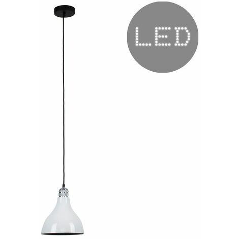 Silver Ceiling Lampholder + White Light Shade - 10W LED Gls Bulb Warm White