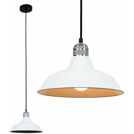 Silver Ceiling Lampholder + White Light Shade