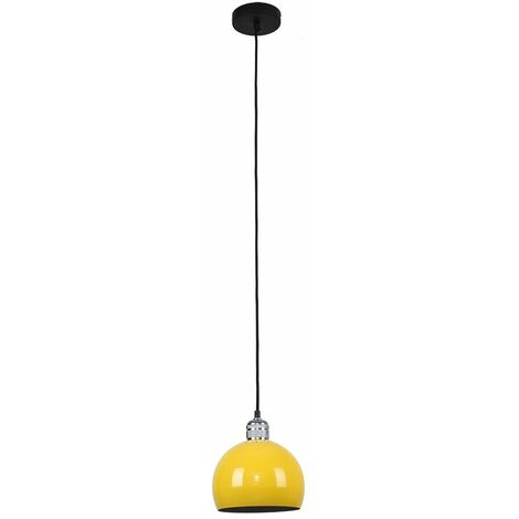 Silver Ceiling Lampholder + Yellow Light Shade