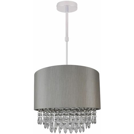 Silver Ceiling Light Adjustable Flush Shade Matching Inner & Clear Droplet Beads
