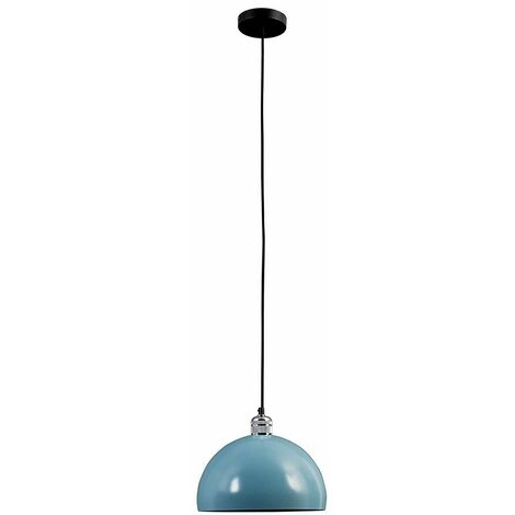 Silver Ceiling Rose & Flex Lampholder + Mint Green Light Shade 10W LED Gls Bulb - Warm White