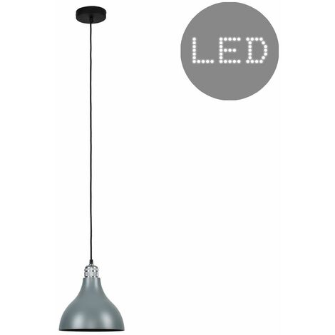 Silver Ceiling Rose & Flex Lampholder + Silver Light Shade - 10W LED Gls Bulb Warm White