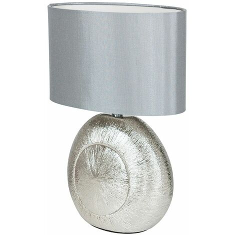 Silver Ceramic Table Lamp + Grey Oval Shade - 4W LED Bulb Warm White
