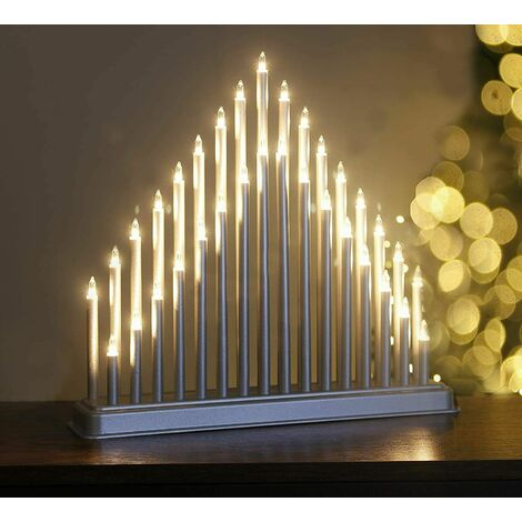 """main image of """"Silver Christmas Light Up Candle Bridge (33 Pipes)"""""""